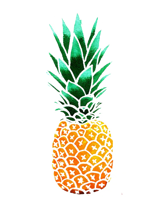 Pineapple clipart tropical. Drawing watercolor painting clip