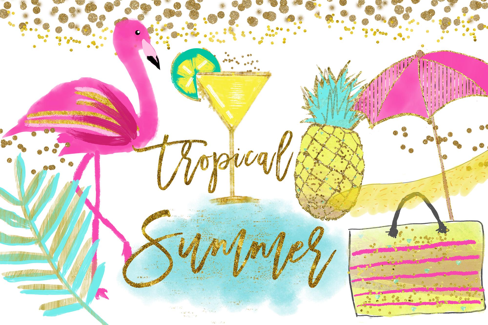 Clipart pineapple tropical. Flamingo clip art