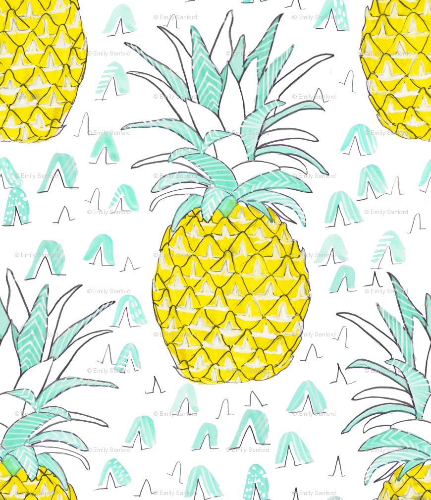 Lemons clipart pineapple. Watercolor wallpaper emilysanford spoonflower