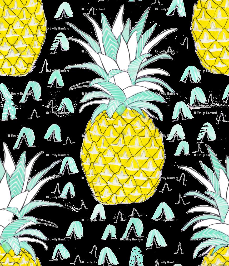 Pineapple clipart grey. Watercolor wallpaper emilysanford spoonflower