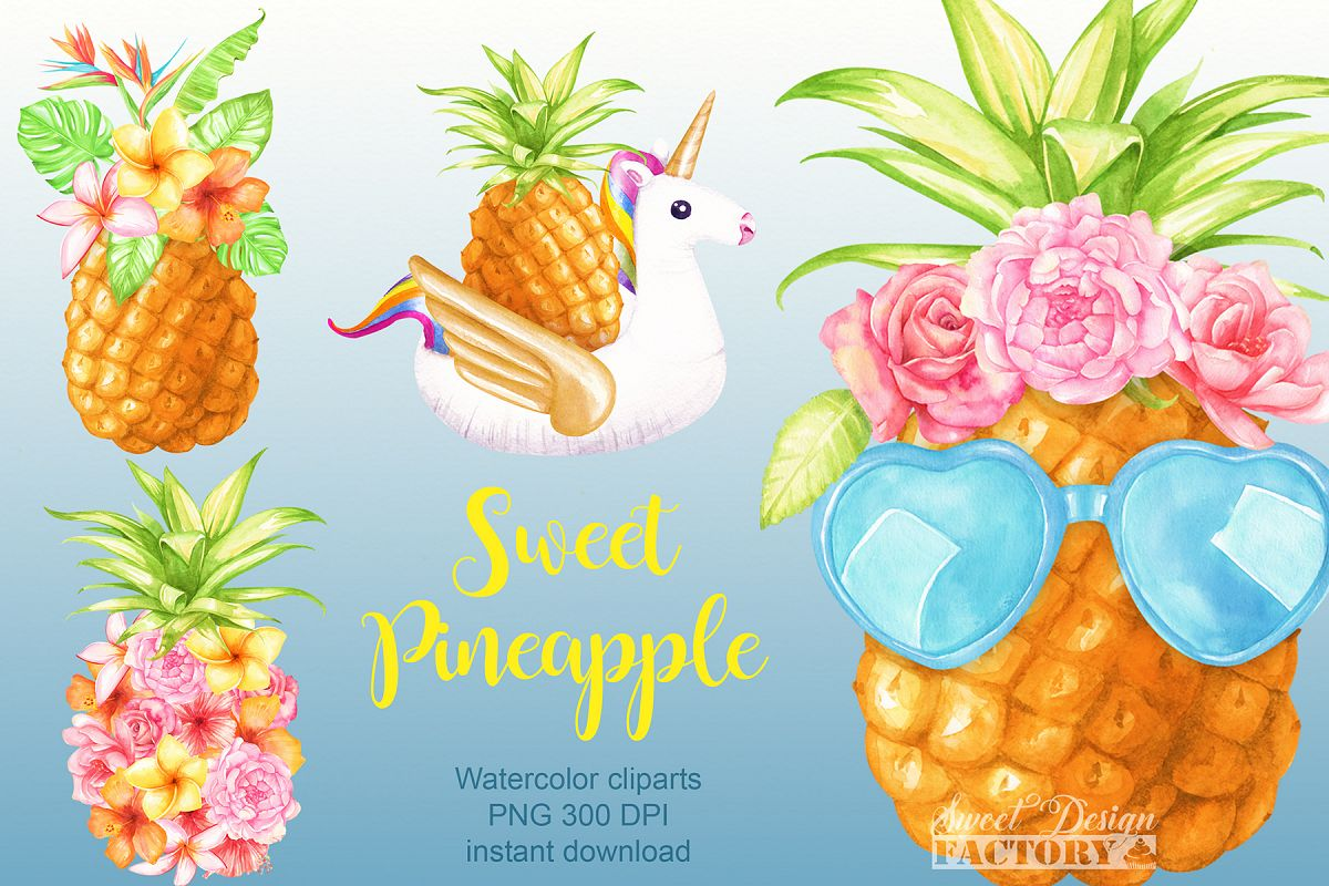 Pineapple clipart watercolor.