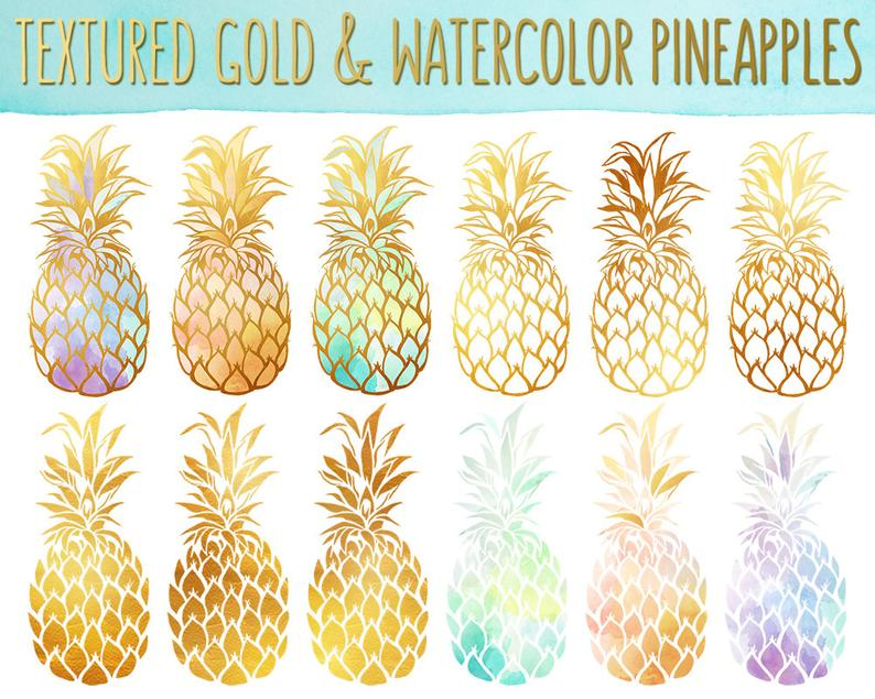Gold texture pineapples clip. Clipart pineapple watercolor
