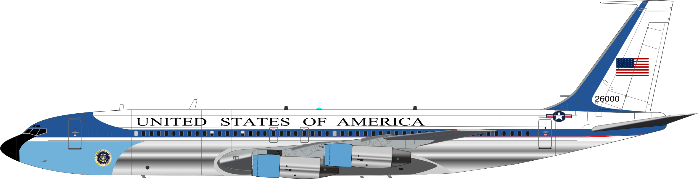 Air force one icons. Jet clipart commercial airplane
