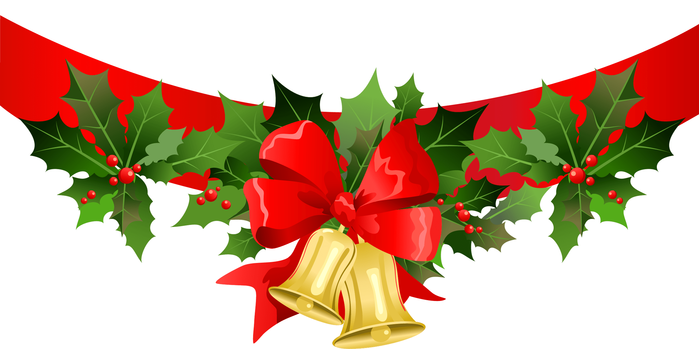 Christmas ribbon with gold. Poinsettias clipart clip art
