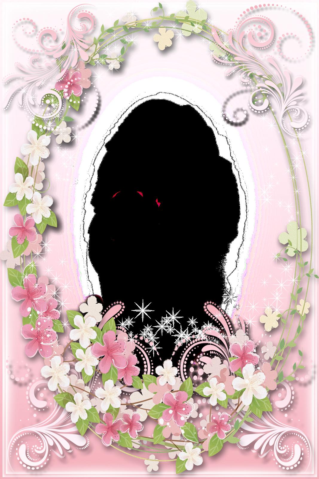 Transparent soft flowers frame. Clipart plane pink