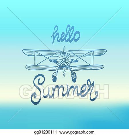 Clipart plane summer. Vector hello illustration