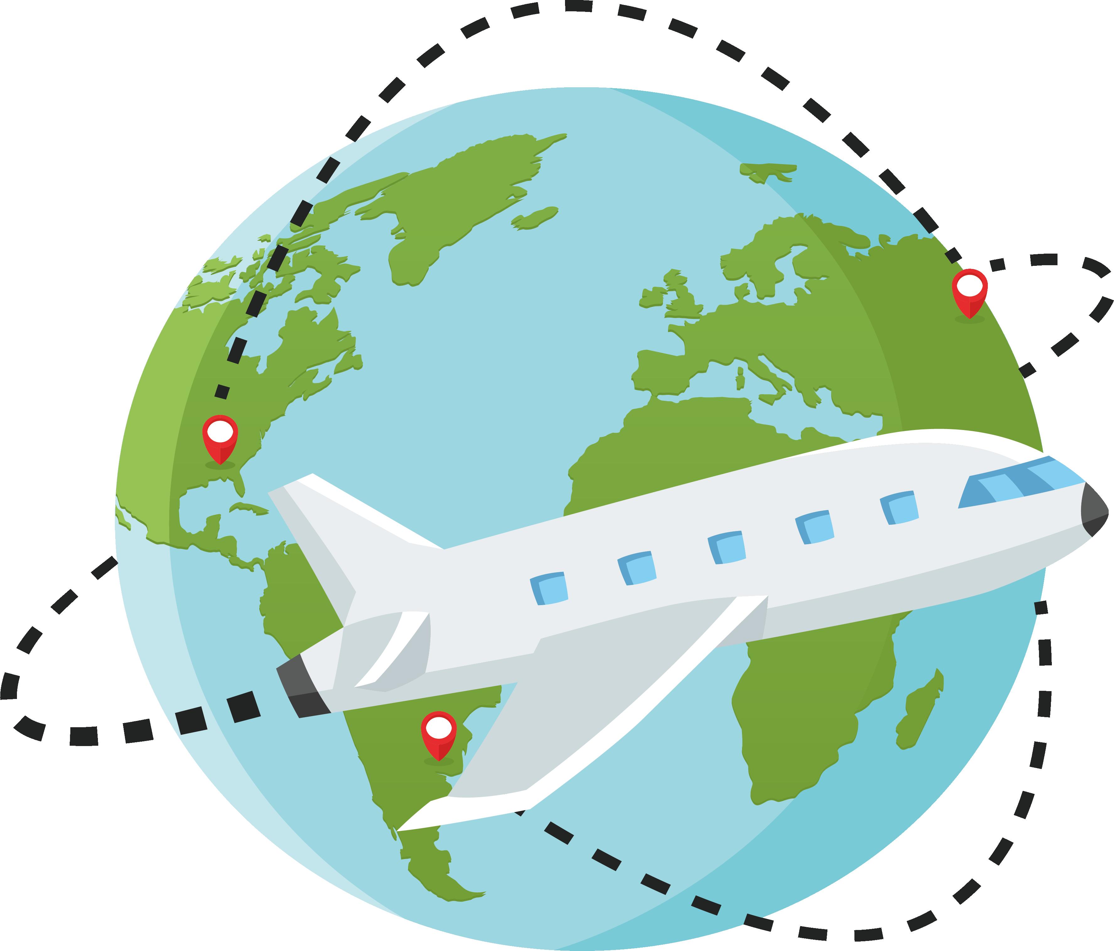 Clipart plane tourist. Lusaka globe world map