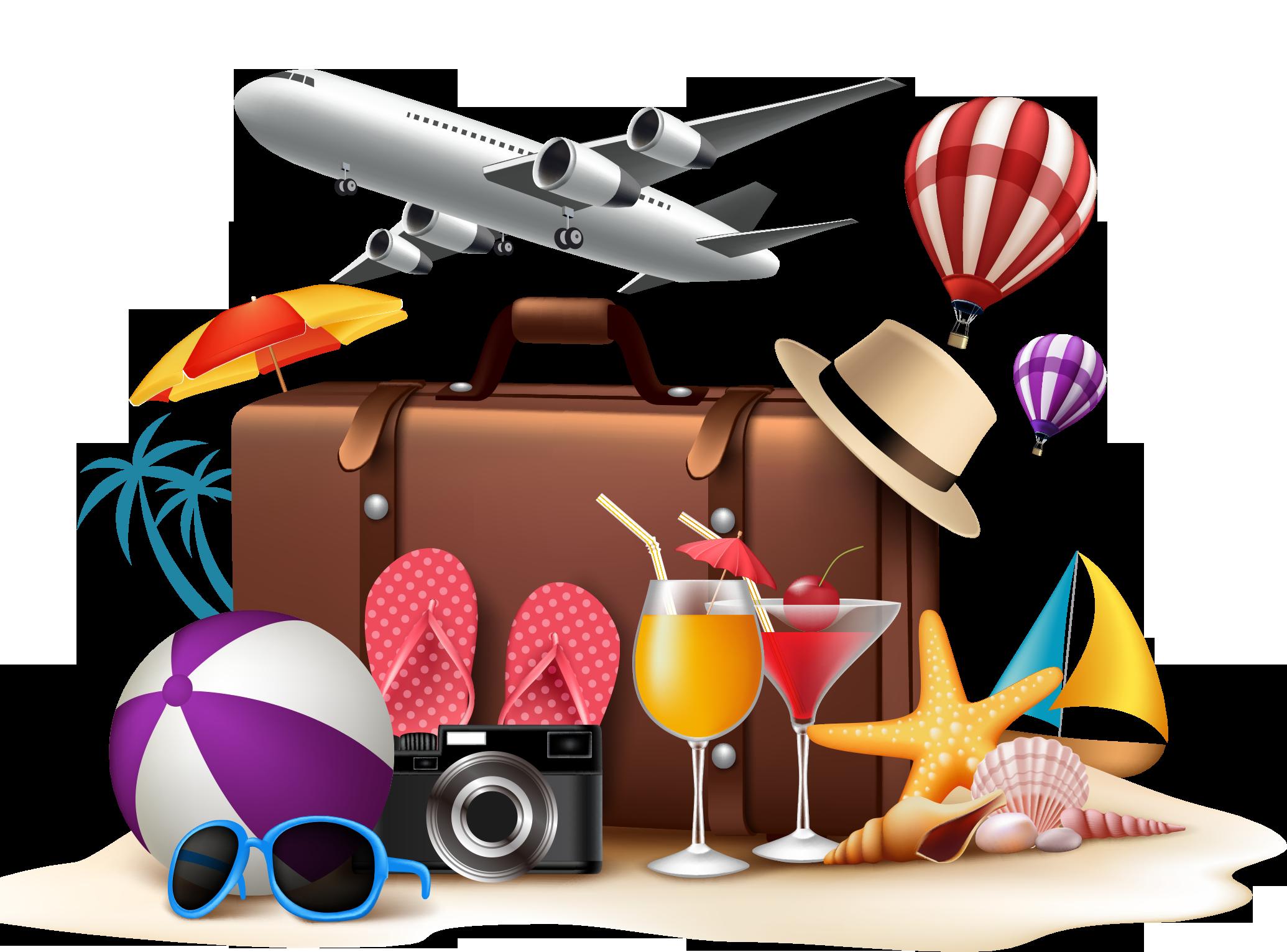 Travel summer vacation beach. Clipart plane tourist