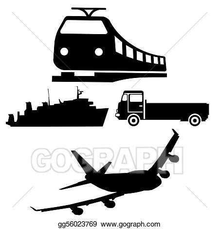 Stock illustration boat truck. Clipart train plane