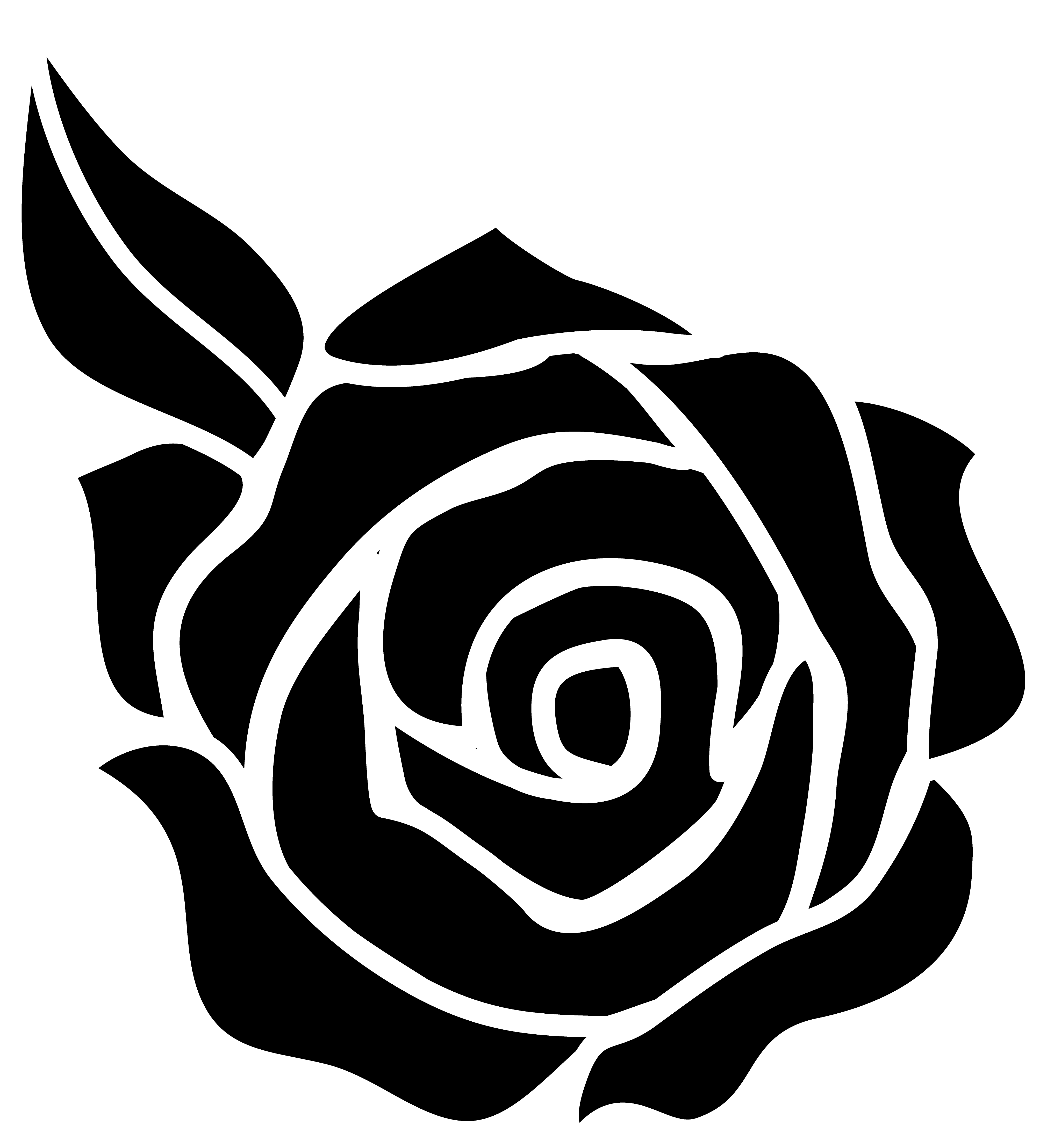 Clipart roses easy. Rose silhouette at getdrawings