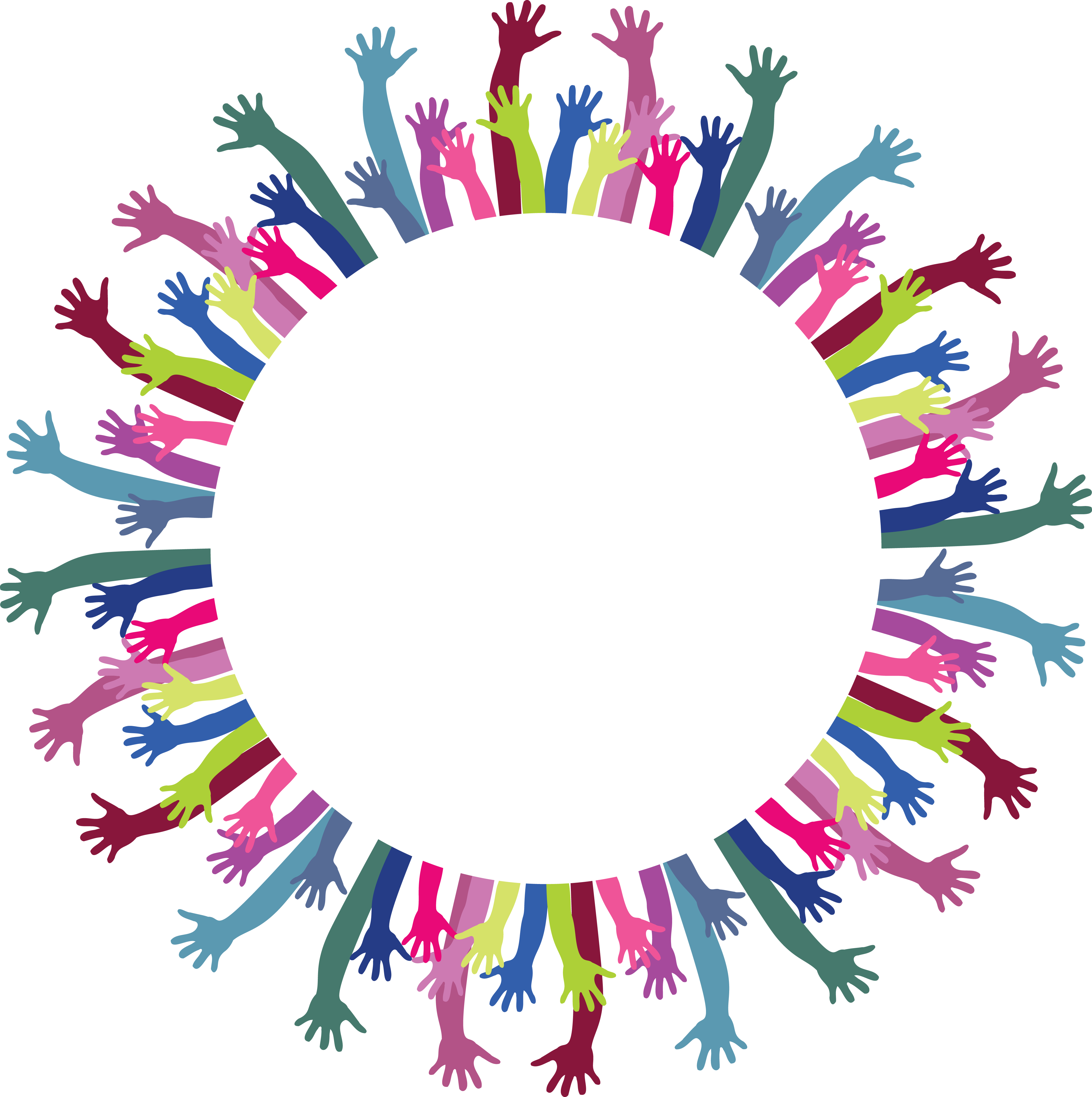 Png circle of hands. Facebook clipart cdr