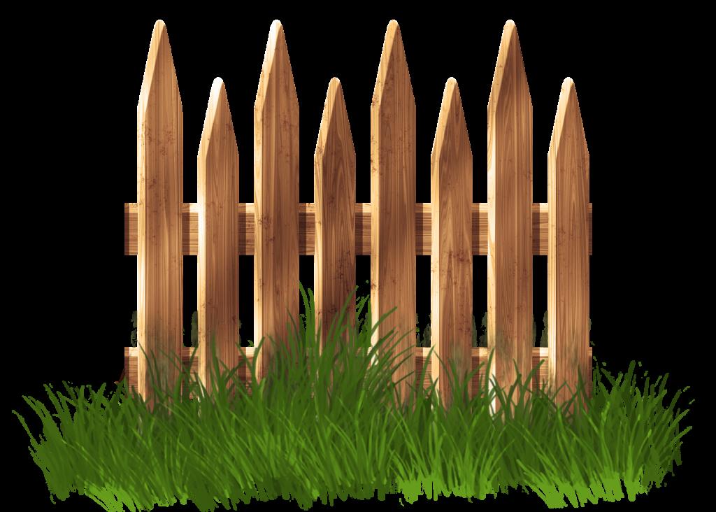 Wooden garden with grass. Fence clipart vector