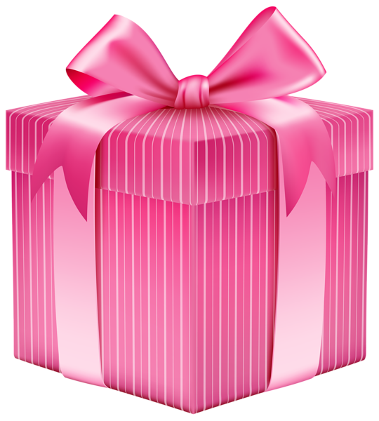 Clipart rose birthday. Pink striped gift box