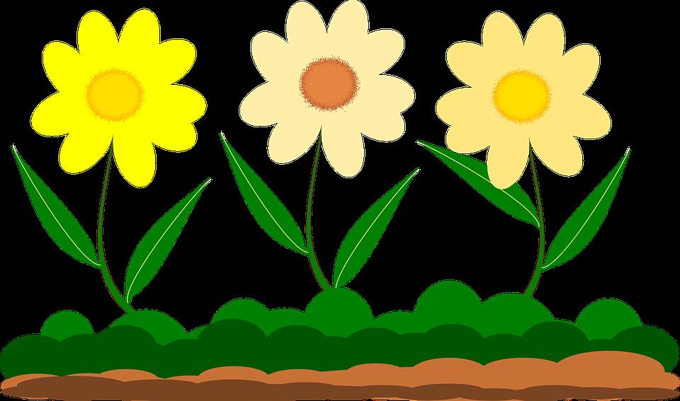 Yellow flower garden free. Retro clipart vector