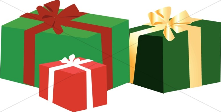 Three boxes with christmas. Clipart present 3 gift