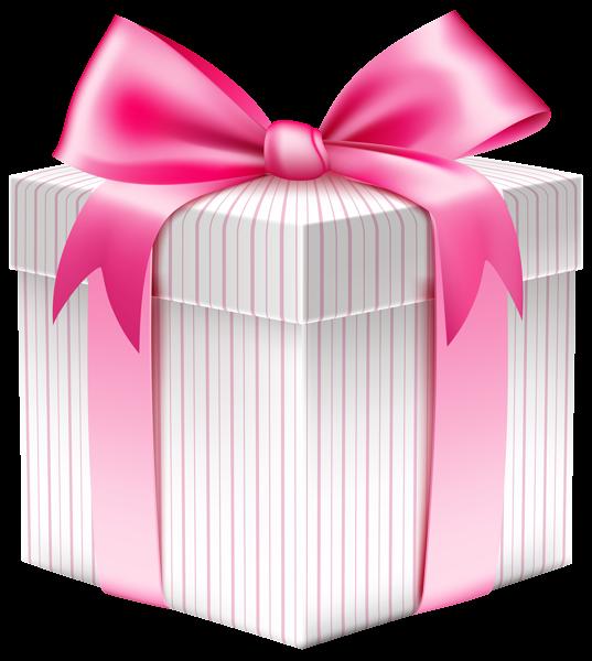 White striped gift box. Gifts clipart birthday present