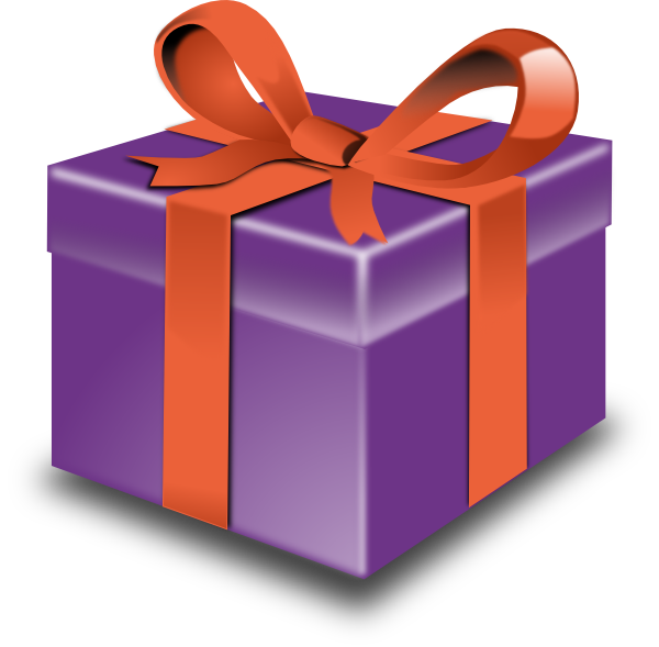 Purple with red ribbon. Clipart present 3 gift