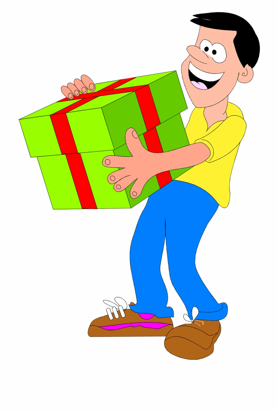 Man with . Gift clipart big present