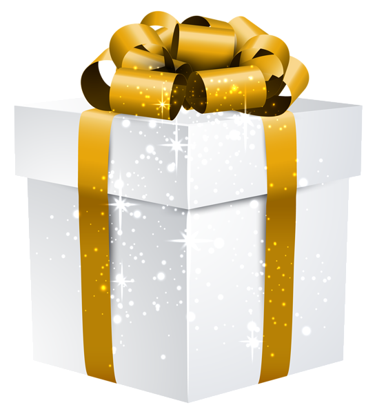 White shining gift box. Clipart present birthday stuff