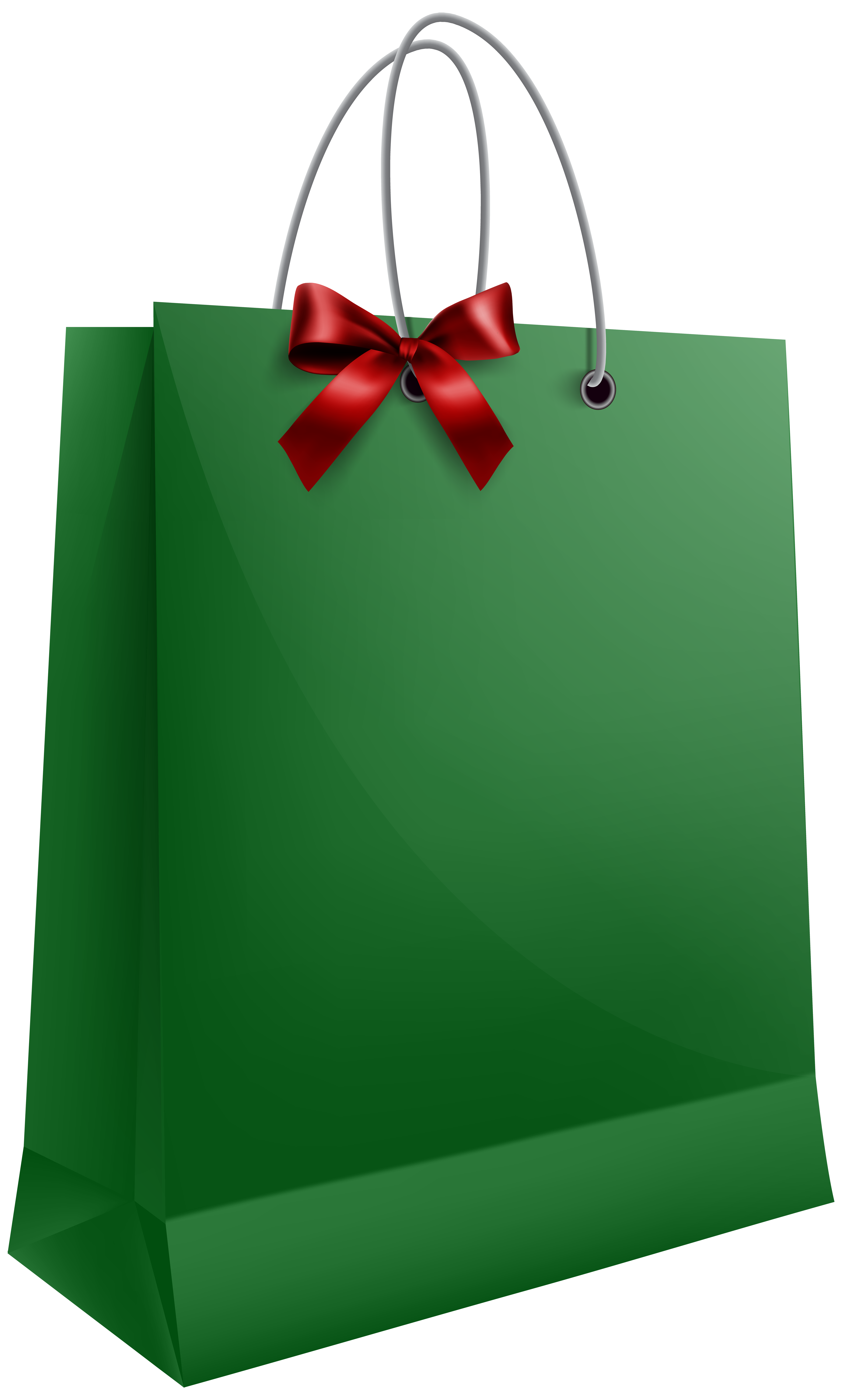 Clipart present christmas gift bag. Green with bow png