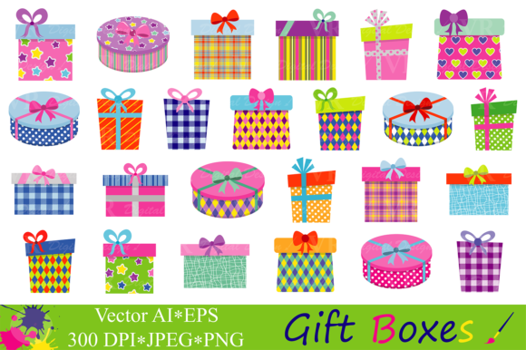 Boxes birthday party presents. Gift clipart birhday