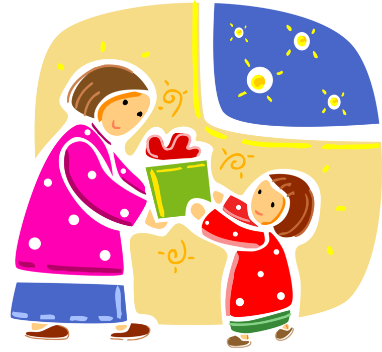 Christmas morning vector image. Clipart present gift exchange