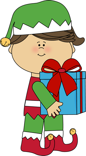 Free cute present cliparts. Elves clipart gift