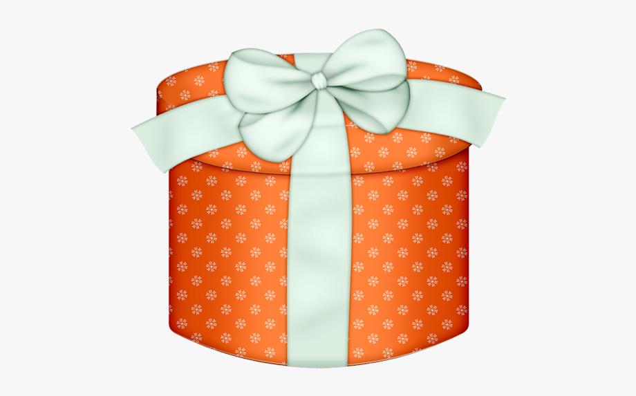 Round gift box with. Clipart present orange