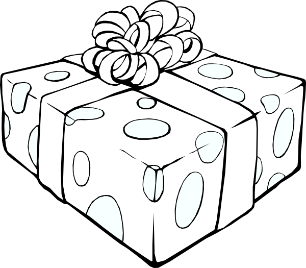 Gift clip art at. Clipart present outline