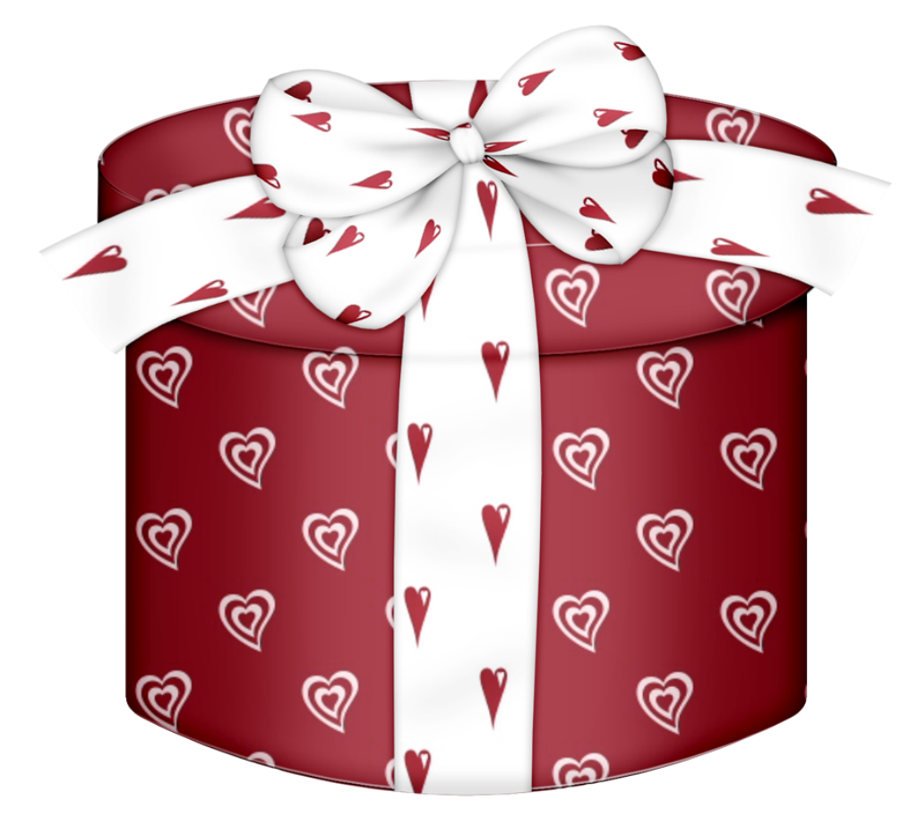 Red heart round png. Gift clipart hat box