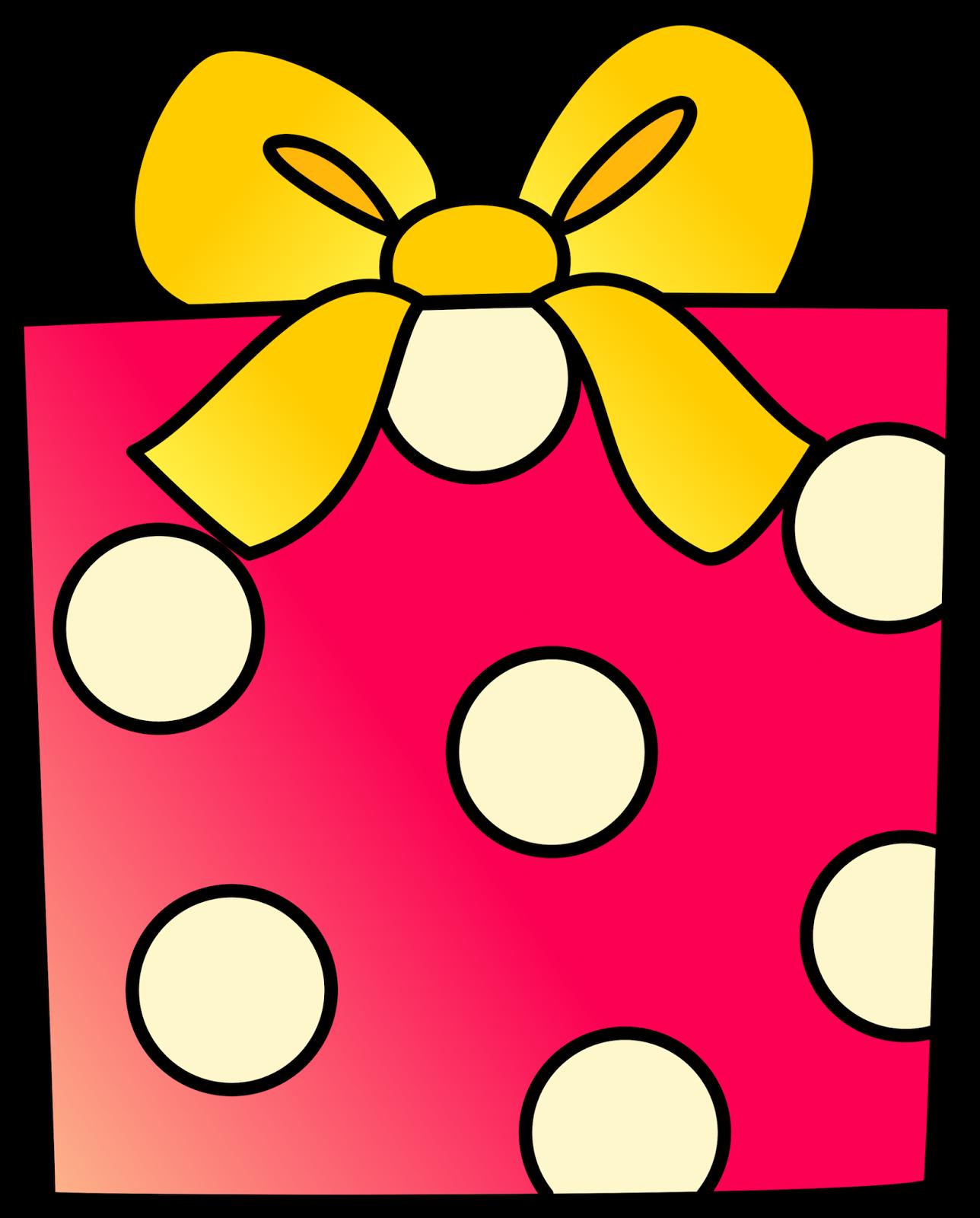 Pink birthday present clip. Square clipart square gift