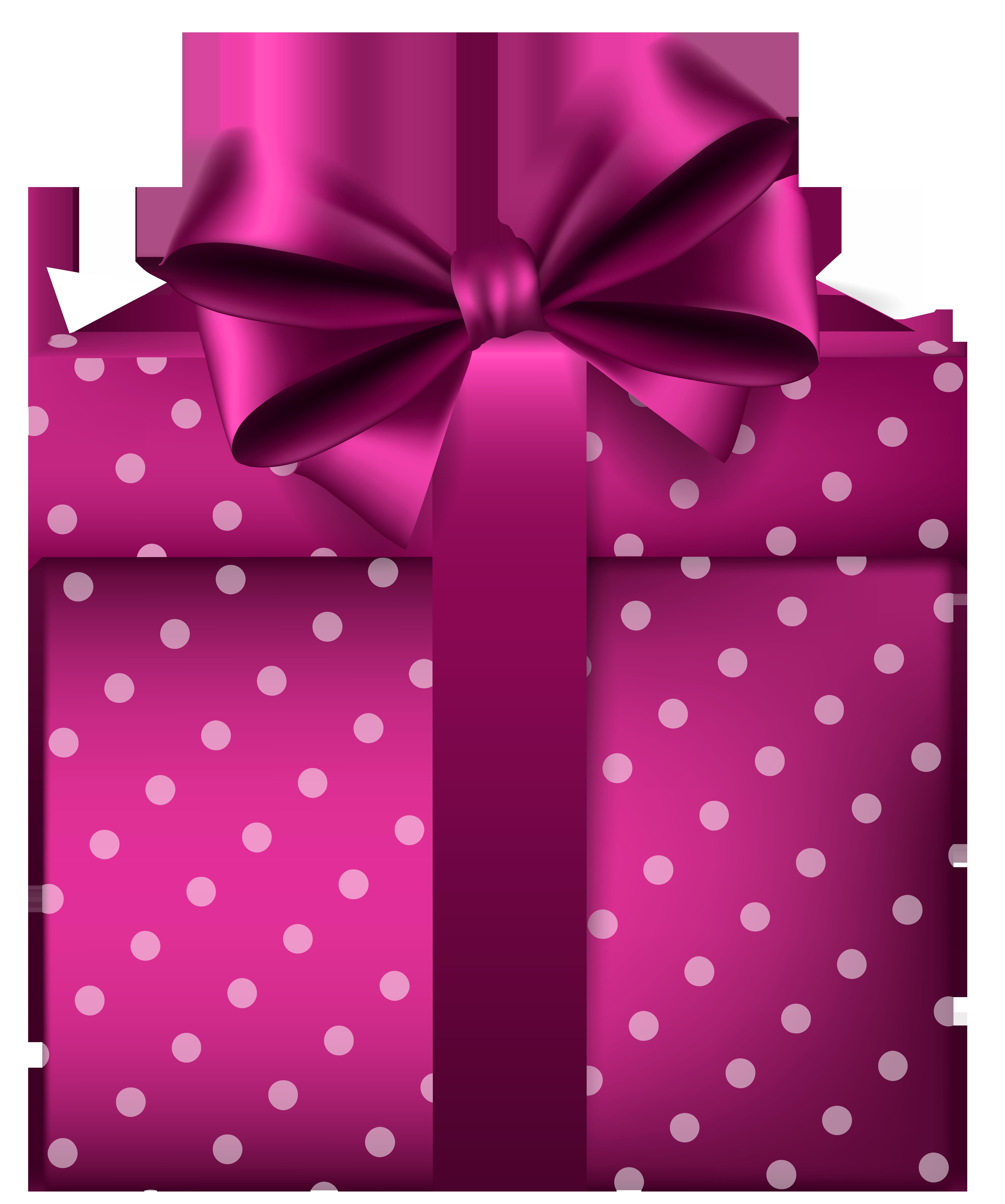 Pink gift png clip. Clipart present polka dot