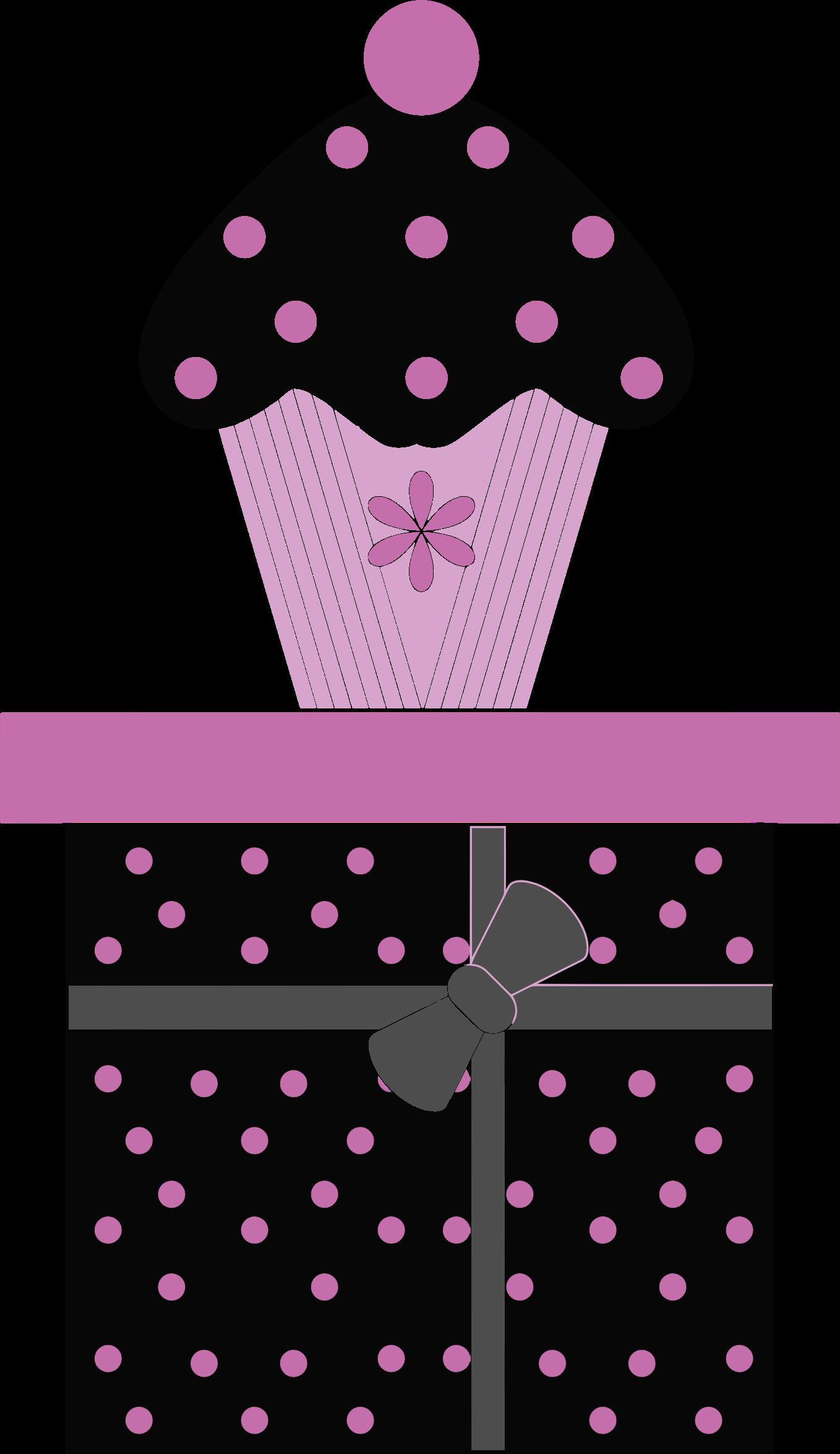 Cupcake on gift box. Clipart present polka dot