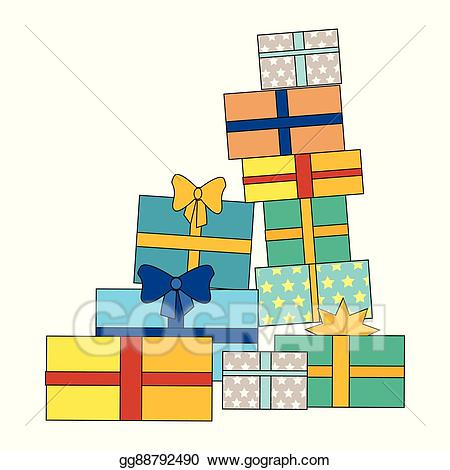 Clipart present present pile. Vector stock of colorful