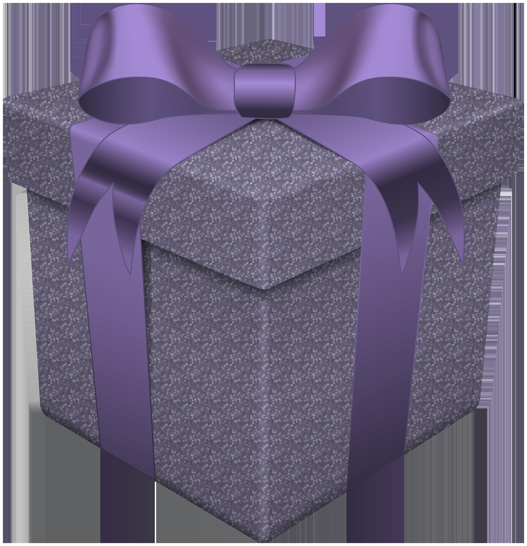 Gift box transparent png. Clipart present purple