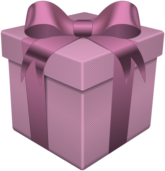 Gift box pink transparent. Purple clipart present