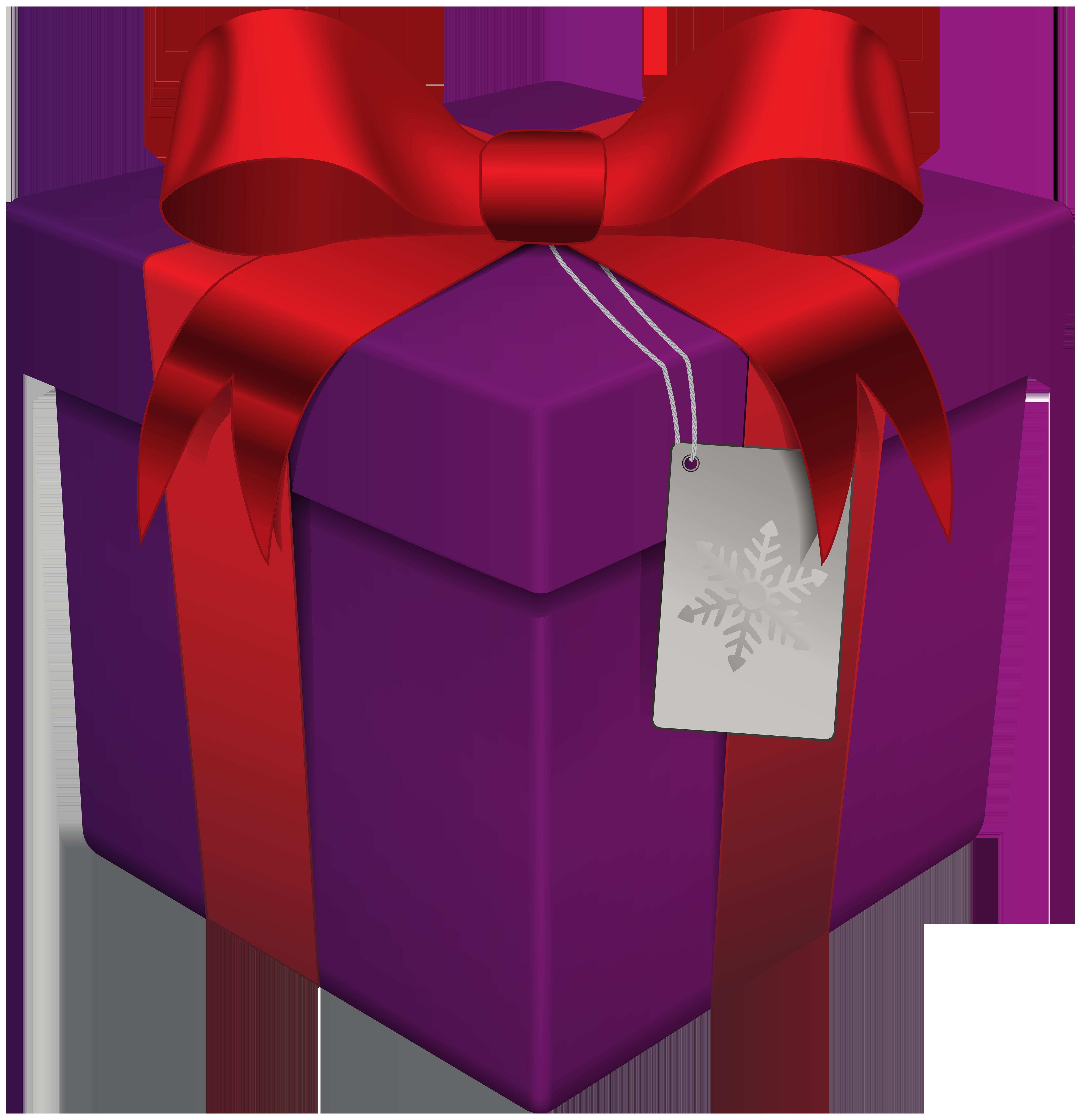 Christmas gift box transparent. Purple clipart present