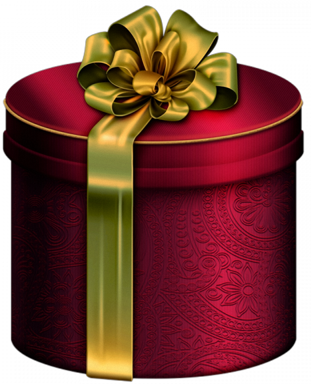 Round box with bow. Clipart present red gold