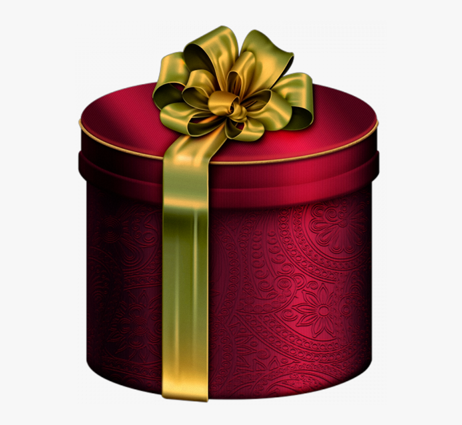 Clipart present red gold. Round box with bow