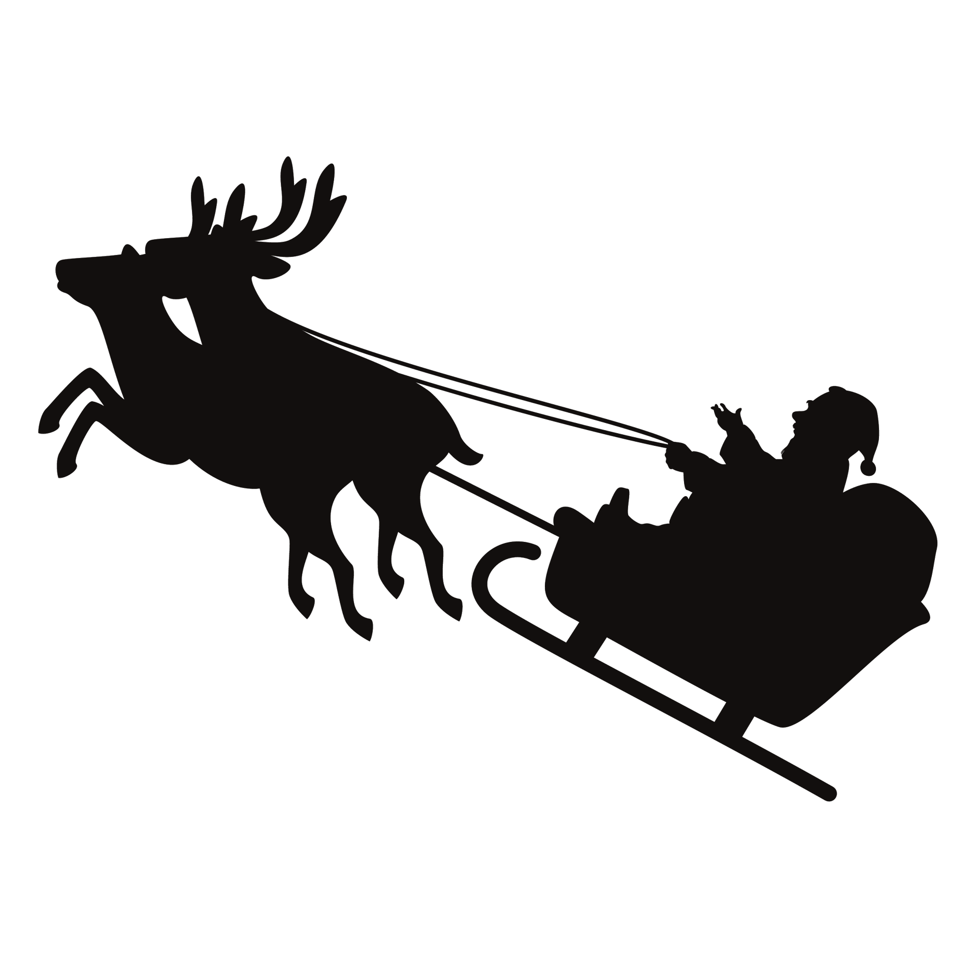 Christmas santaclaus reindeer icon. Clipart present silhouette