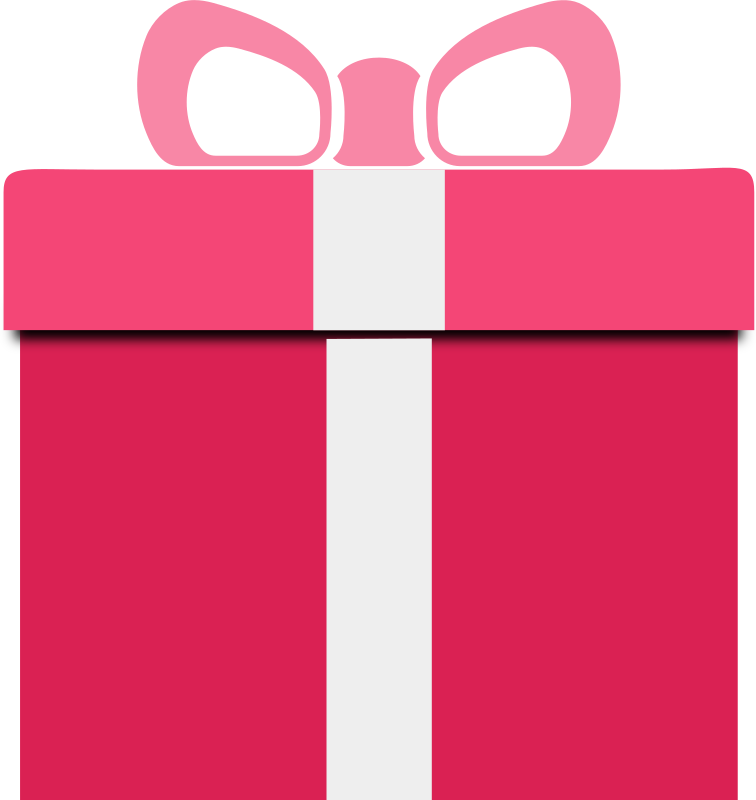 Gift box pink medium. Gifts clipart simple
