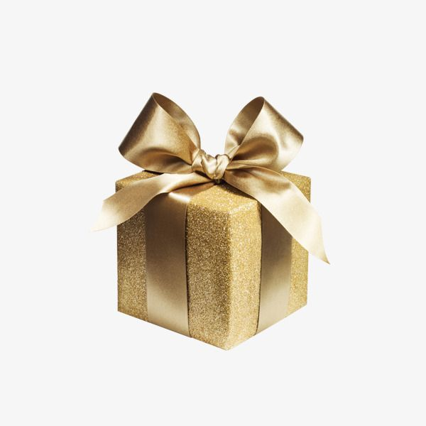 Gold wrapped gift box. Clipart present small present
