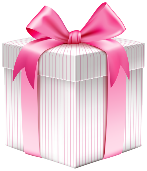 White striped box png. Clipart present special gift