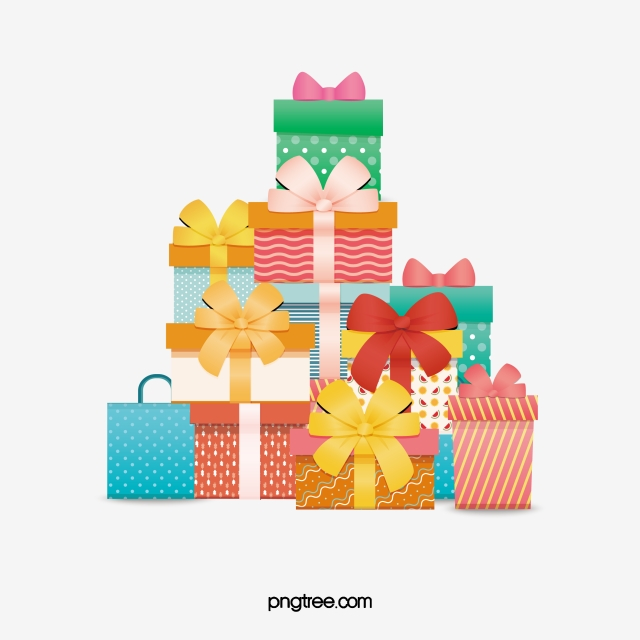 Clipart present stacked present. Colourful birthday gift boxes