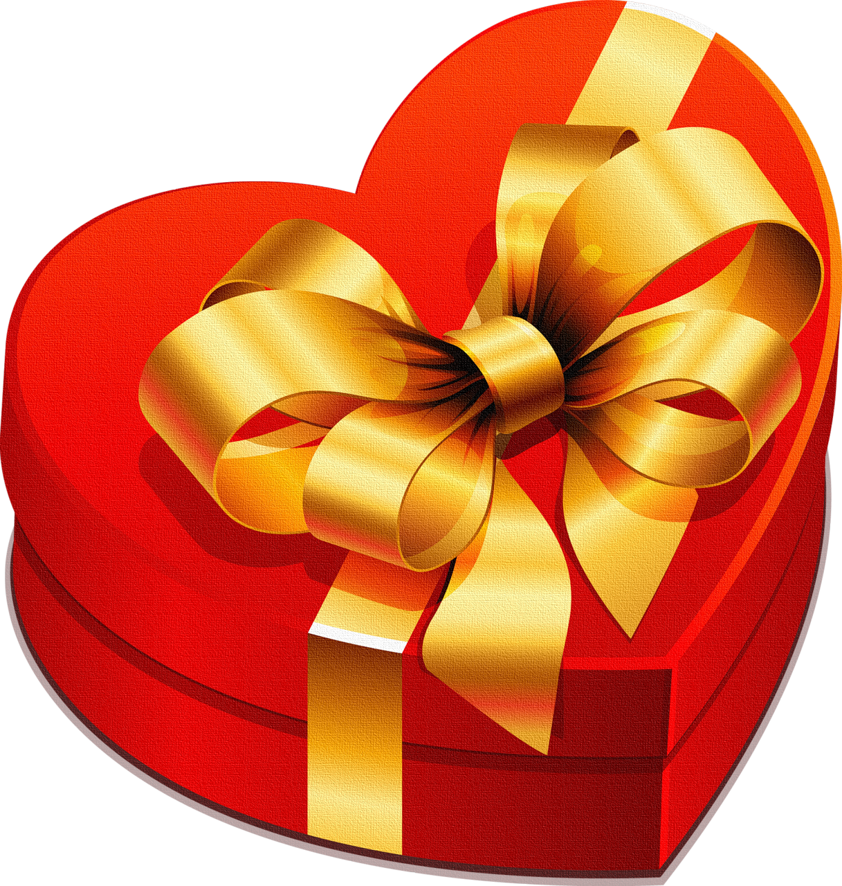 Large box with gold. Gift clipart heart gift