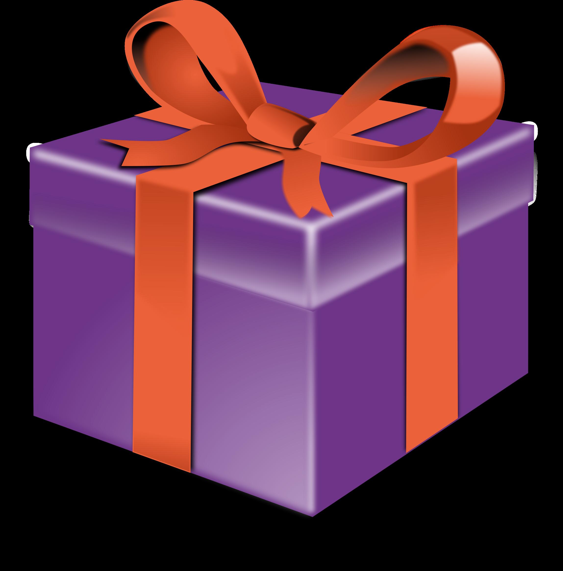 Purple orange ribbon image. Gift clipart big present
