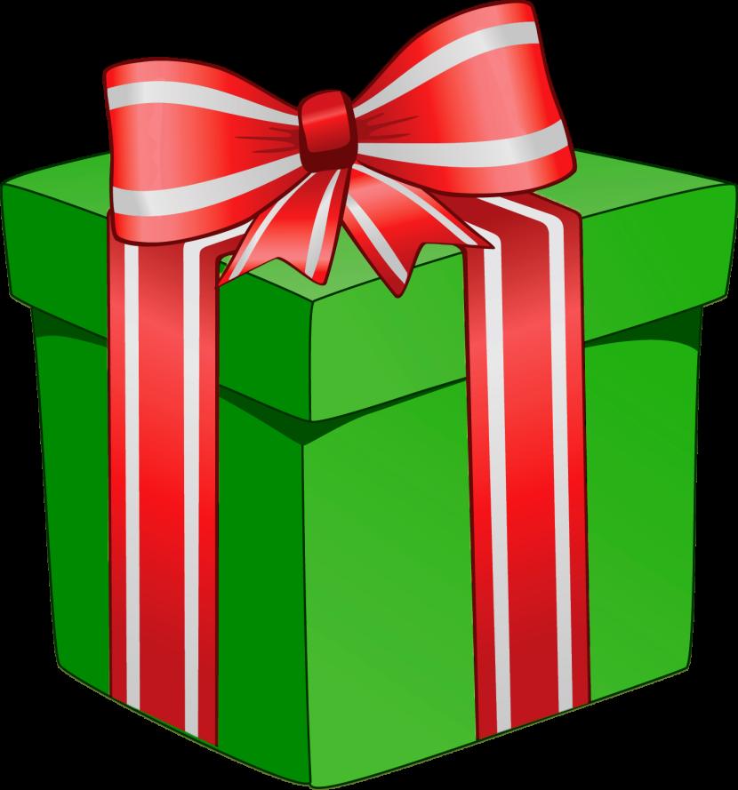 Christmas gift clip art. Clipart present transparent background