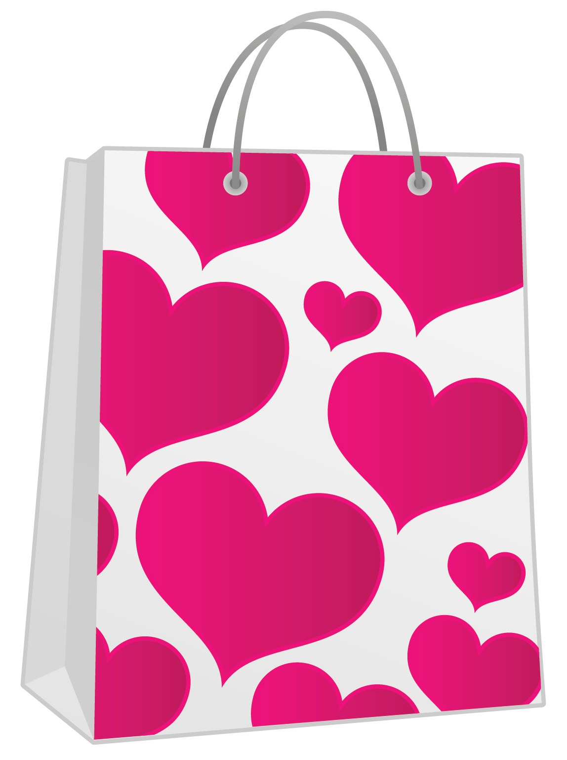 Valentine pink with hearts. Gift clipart gift bag