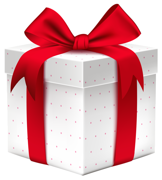 Gift clipart stacked present. White box with red