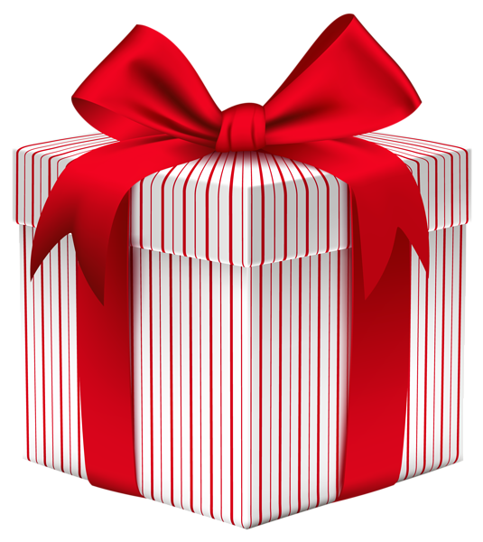 Clipart present white christmas. Gift box with bow